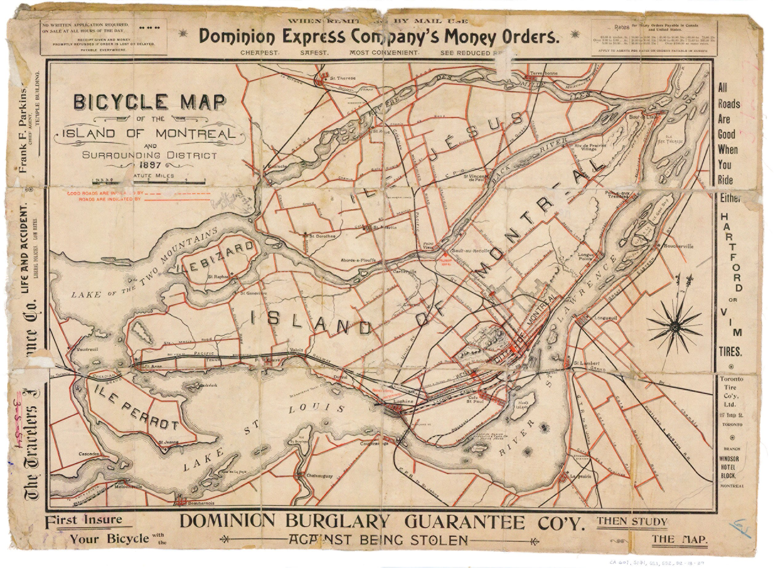 Montreal bicycle map from 1897